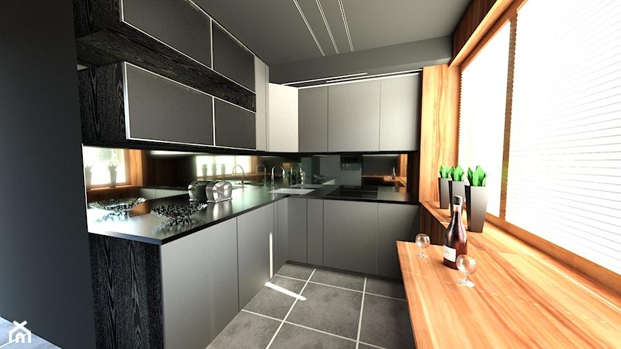 Szara kuchnia ocieplona drewnem  zdjęcie od Ewelina