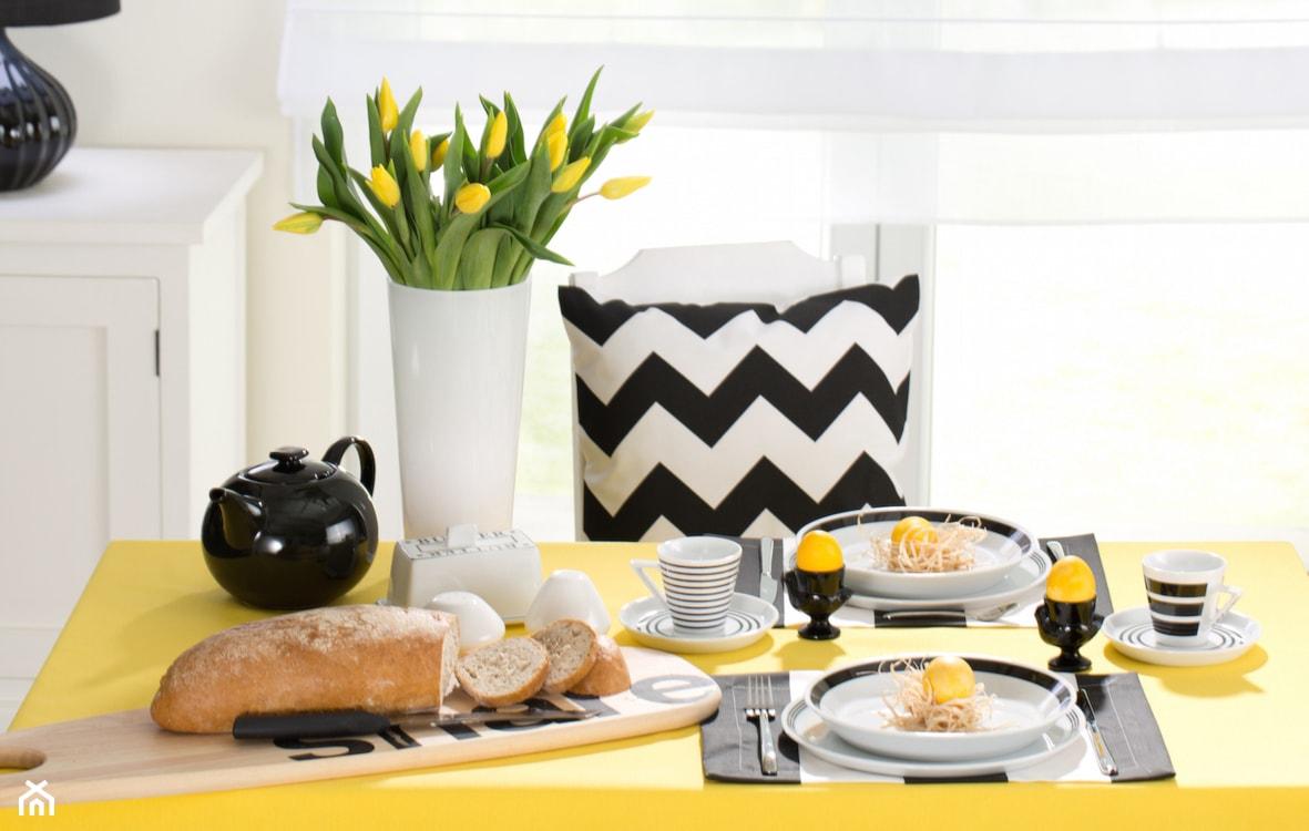 żółty, dekoracja stołu
