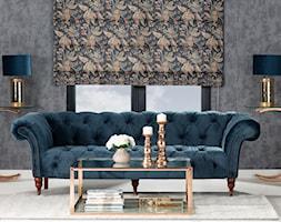 roleta rzymska z kolekcji Gardenia, sofa Chesterfield Glamour, konsola Chica, - zdjęcie od Dekoria.pl