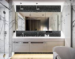 APARTAMENT POWISLE - Średnia biała czarna szara łazienka jako salon kąpielowy, styl nowoczesny - zdjęcie od Republika Architektury - Homebook