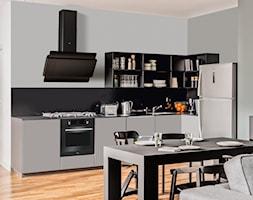 Kuchnia - Średnia otwarta szara czarna kuchnia w kształcie litery l w aneksie, styl nowoczesny - zdjęcie od Amica - Homebook