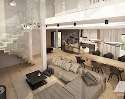 Dom w nowoczesnym stylu - Duży szary salon z antresolą, styl nowoczesny - zdjęcie od MKdesigner - Homebook