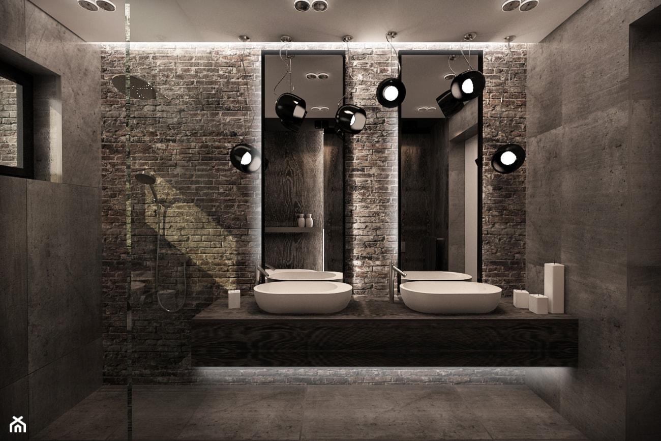 DOM POD WARSZAWĄ - Średnia brązowa łazienka na poddaszu w bloku w domu jednorodzinnym z oknem, styl ... - zdjęcie od MKdesigner - Homebook