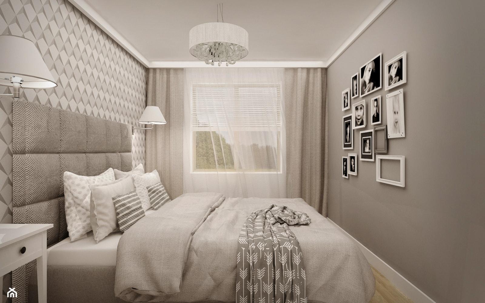 MIESZKANIE W ŁOMIANKACH - Mała szara sypialnia małżeńska, styl nowoczesny - zdjęcie od MKdesigner - Homebook