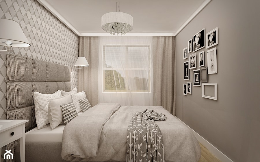 Aranżacje wnętrz - Sypialnia: MIESZKANIE W ŁOMIANKACH - Mała szara sypialnia małżeńska, styl nowoczesny - MKdesigner. Przeglądaj, dodawaj i zapisuj najlepsze zdjęcia, pomysły i inspiracje designerskie. W bazie mamy już prawie milion fotografii!