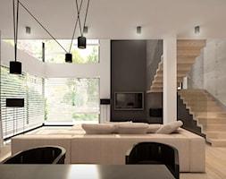 Z NOWY ROKIEM NOWYM KROKIEM - Duży szary biały beżowy czarny salon z jadalnią, styl nowoczesny - zdjęcie od MKdesigner