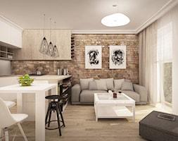 MIESZKANIE W ŁOMIANKACH - Mały salon z kuchnią z jadalnią z tarasem / balkonem, styl nowoczesny - zdjęcie od MKdesigner