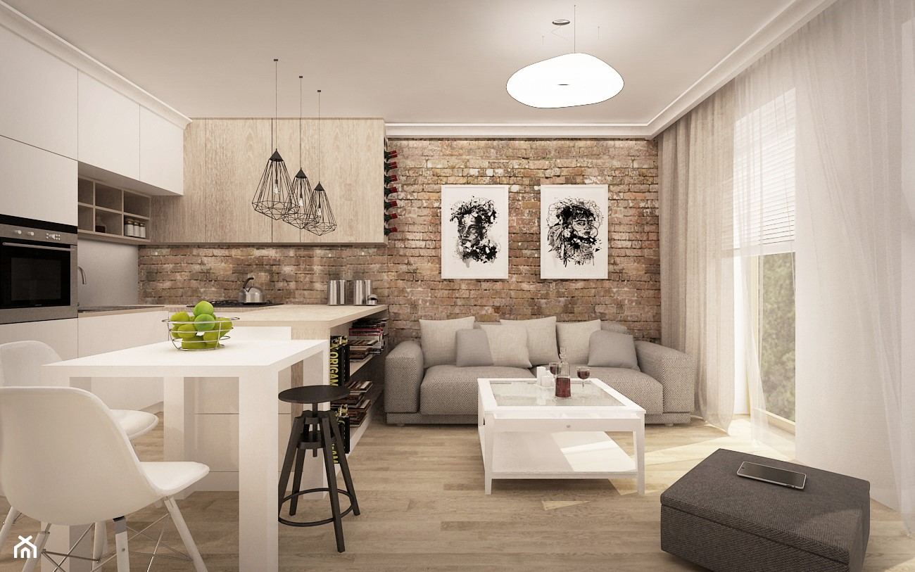 MIESZKANIE W ŁOMIANKACH - Mały salon z kuchnią z jadalnią z tarasem / balkonem, styl nowoczesny - zdjęcie od MKdesigner - Homebook