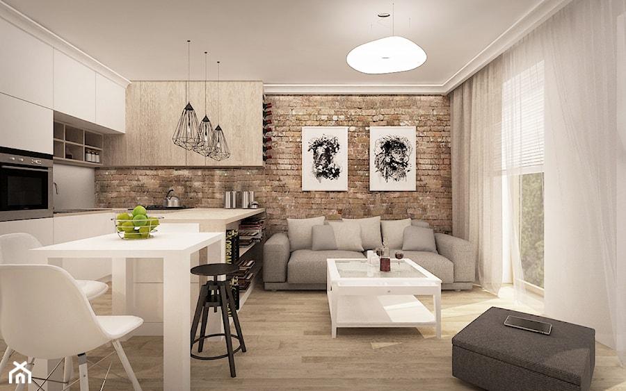 MIESZKANIE W ŁOMIANKACH  Mały salon z kuchnią z jadalnią z tarasem  balkone   -> Salon Z Kuchnią Aranżacja Inspiracje