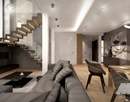 Dom w nowoczesnym stylu - Duży szary biały salon z kuchnią z jadalnią, styl nowoczesny - zdjęcie od MKdesigner - Homebook