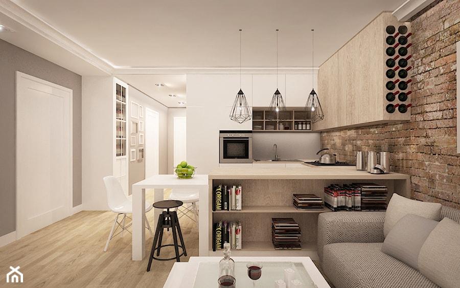 MIESZKANIE W ŁOMIANKACH - Mała otwarta biała szara jadalnia w kuchni w salonie, styl nowoczesny - zdjęcie od MKdesigner
