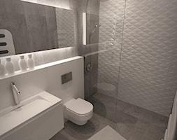 Dom w nowoczesnym stylu - Mała szara łazienka w bloku w domu jednorodzinnym bez okna, styl nowoczes ... - zdjęcie od MKdesigner - Homebook
