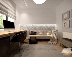 Dom w nowoczesnym stylu - Średnie szare biuro domowe kącik do pracy w pokoju, styl nowoczesny - zdjęcie od MKdesigner - Homebook