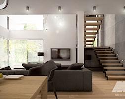 Dom w nowoczesnym stylu - Średni szary salon z jadalnią, styl nowoczesny - zdjęcie od MKdesigner - Homebook