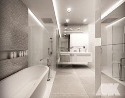 Dom w nowoczesnym stylu - Duża szara łazienka w bloku w domu jednorodzinnym bez okna, styl nowoczes ... - zdjęcie od MKdesigner - Homebook
