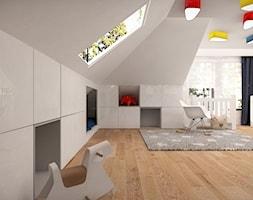 DOM POD ŁOWICZEM - Duży biały pokój dziecka dla chłopca dla dziewczynki dla niemowlaka, styl nowoczesny - zdjęcie od MKdesigner
