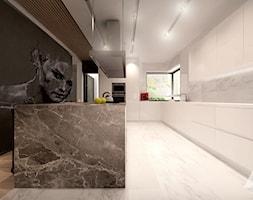 Dom w nowoczesnym stylu - Duża otwarta czarna kuchnia w kształcie litery l w aneksie z wyspą z oknem ... - zdjęcie od MKdesigner - Homebook