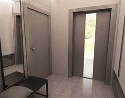 URZĄDZONE NA SZARO - Mały biały szary hol / przedpokój, styl nowoczesny - zdjęcie od MKdesigner