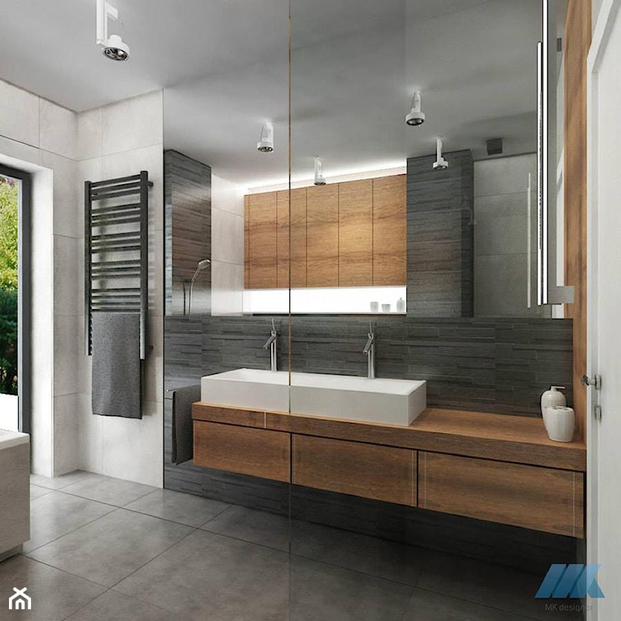 zimne szaro ci kontra czerwona stara ceg a i naturalne drewno azienka styl nowoczesny. Black Bedroom Furniture Sets. Home Design Ideas