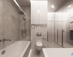 STYL I ELEGANCJA W ŁAZIENCE - Średnia biała łazienka na poddaszu w bloku w domu jednorodzinnym bez okna, styl nowoczesny - zdjęcie od MKdesigner