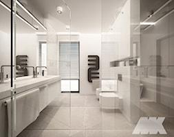Dom w nowoczesnym stylu - Średnia szara łazienka w bloku w domu jednorodzinnym z oknem, styl nowocz ... - zdjęcie od MKdesigner - Homebook