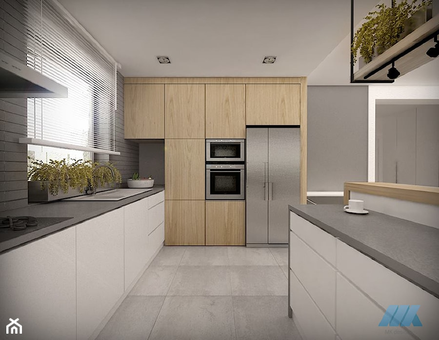 DOM DLA CZTEROOSOBOWEJ RODZINY - Duża otwarta szara kuchnia w kształcie litery g, styl skandynawski - zdjęcie od MKdesigner