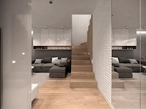 RODZINNY DOM POD WARSZAWĄ - Średnie wąskie schody jednobiegowe zabiegowe drewniane, styl nowoczesny - zdjęcie od MKdesigner