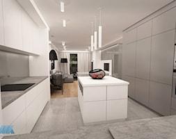 URZĄDZONE NA SZARO - Średnia otwarta biała kuchnia w kształcie litery u w aneksie, styl nowoczesny - zdjęcie od MKdesigner
