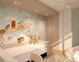 Dom w nowoczesnym stylu - Średni szary niebieski pokój dziecka dla chłopca dla dziewczynki dla uczni ... - zdjęcie od MKdesigner - Homebook