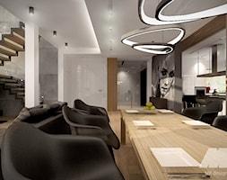 Dom w nowoczesnym stylu - Duży biały salon z kuchnią z jadalnią, styl nowoczesny - zdjęcie od MKdesigner - Homebook