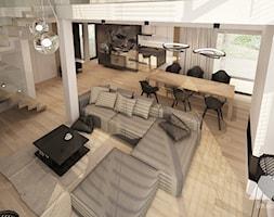Dom w nowoczesnym stylu - Duży biały beżowy salon z jadalnią z tarasem / balkonem z antresolą, styl ... - zdjęcie od MKdesigner - Homebook