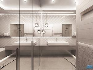 STYL I ELEGANCJA W ŁAZIENCE - Duża biała szara łazienka w domu jednorodzinnym bez okna, styl nowoczesny - zdjęcie od MKdesigner