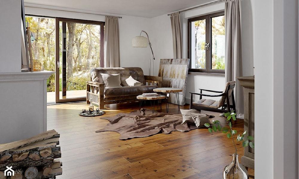 salon rustykalny w wersji minimalistycznej