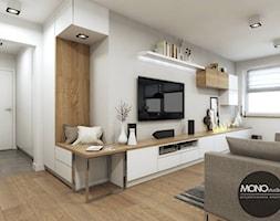 Ciepły i jasny salon w nowoczesnym klimacie - zdjęcie od MONOstudio - Homebook