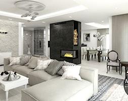 biel&elegancja - Duży biały beżowy salon z jadalnią, styl minimalistyczny - zdjęcie od MONOstudio - Homebook