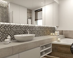 drewno & minimalizm - Średnia biała łazienka jako domowe spa z oknem, styl minimalistyczny - zdjęcie od MONOstudio