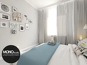 Przytulna sypialnia z wykorzystaniem tapety w kolorze jako główny element dekora