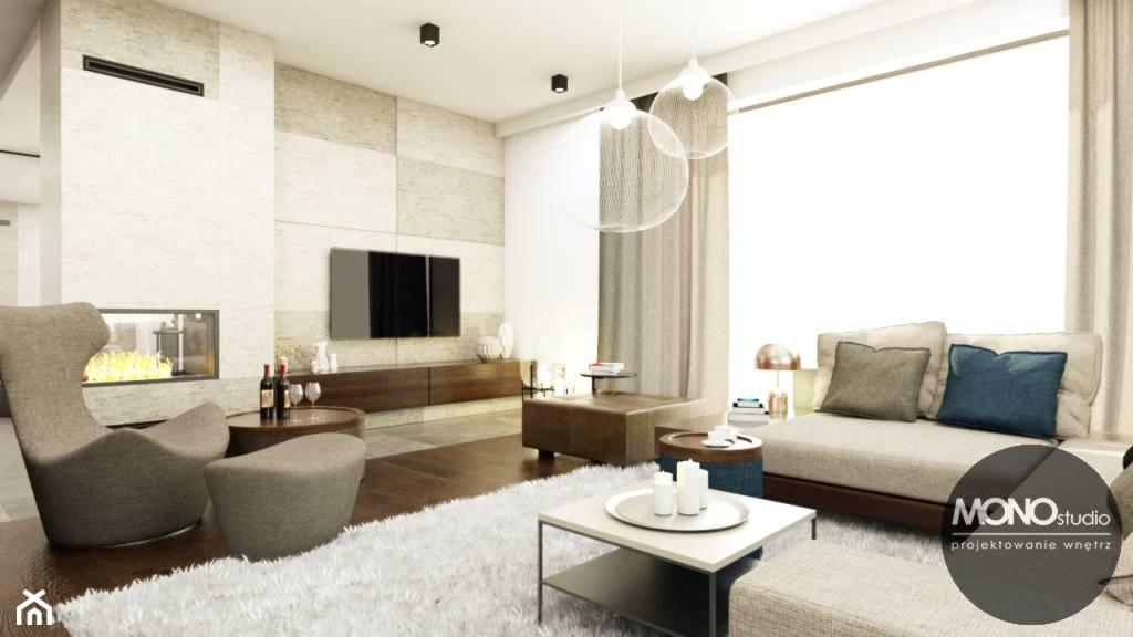 Przestrzenny salon w klimacie minimalistycznym - zdjęcie od MONOstudio - Homebook