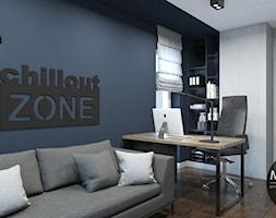 Minimalistyczne mieszkanie w Krakowie - Mały niebieski salon z bibiloteczką - zdjęcie od MONOstudio
