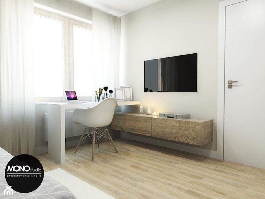 Aranżacje wnętrz - Sypialnia: przestrzeń & faktura - Średnia biała sypialnia małżeńska - MONOstudio. Przeglądaj, dodawaj i zapisuj najlepsze zdjęcia, pomysły i inspiracje designerskie. W bazie mamy już prawie milion fotografii!