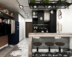 przestrzeń & faktura - Średnia otwarta czarna kuchnia, styl vintage - zdjęcie od MONOstudio