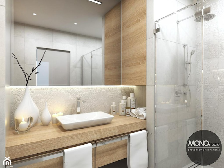 Jasna łazienka Z Dodatkami Drewna Zdjęcie Od Monostudio