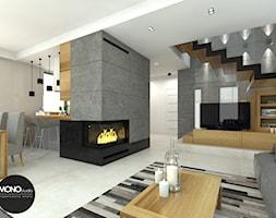 beton & drewno - Średni szary biały salon z kuchnią z jadalnią, styl skandynawski - zdjęcie od MONOstudio - Homebook