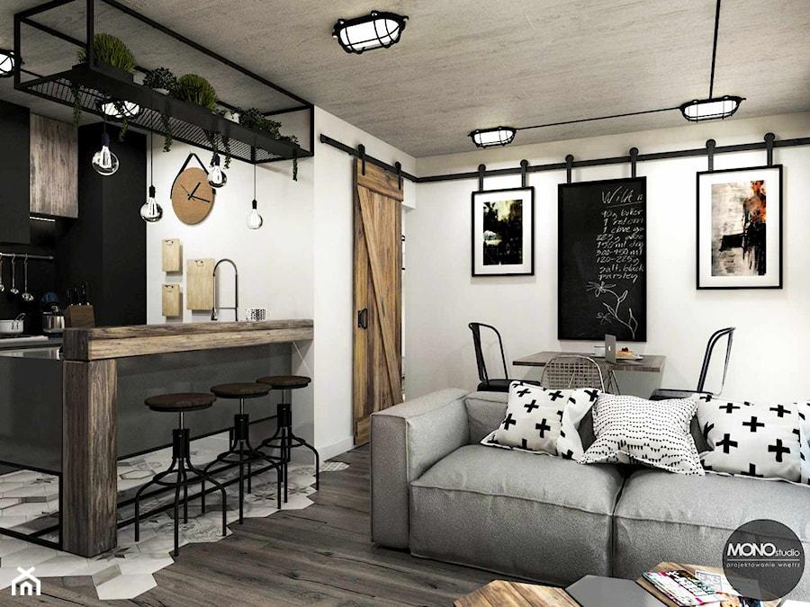 Aranżacje wnętrz - Salon: przestrzeń & faktura - Mały biały salon z kuchnią z jadalnią, styl vintage - MONOstudio. Przeglądaj, dodawaj i zapisuj najlepsze zdjęcia, pomysły i inspiracje designerskie. W bazie mamy już prawie milion fotografii!
