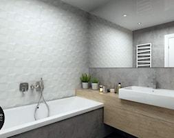 przestrzeń & światło - Mała biała czarna łazienka na poddaszu w bloku w domu jednorodzinnym bez okna, styl nowoczesny - zdjęcie od MONOstudio