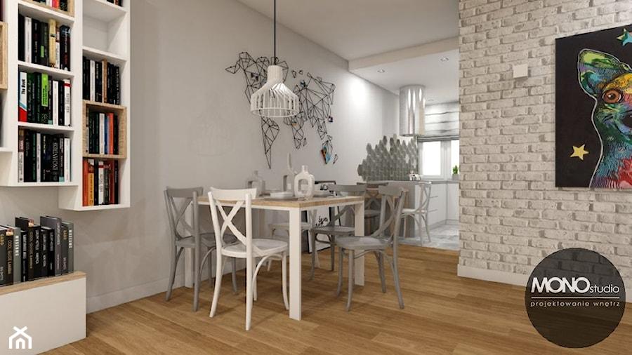 Jadalnia z kuchnią w klimacie skandynawskim - zdjęcie od MONOstudio