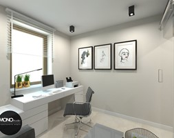 beton & drewno - Małe szare biuro kącik do pracy - zdjęcie od MONOstudio