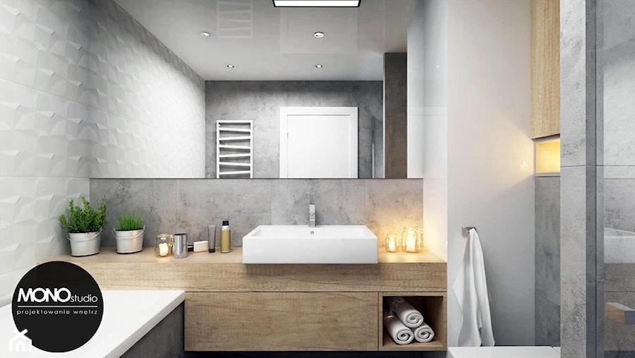 Aranżacje wnętrz - Łazienka: przestrzeń & światło - Mała biała szara łazienka na poddaszu w bloku w domu jednorodzinnym bez okna, styl nowoczesny - MONOstudio. Przeglądaj, dodawaj i zapisuj najlepsze zdjęcia, pomysły i inspiracje designerskie. W bazie mamy już prawie milion fotografii!