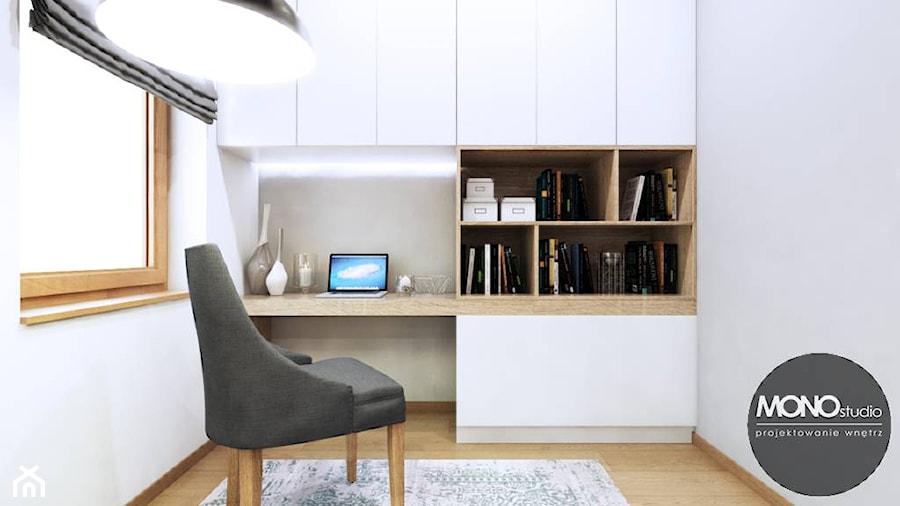 Aranżacje wnętrz - Biuro: Biuro domowe - MONOstudio. Przeglądaj, dodawaj i zapisuj najlepsze zdjęcia, pomysły i inspiracje designerskie. W bazie mamy już prawie milion fotografii!