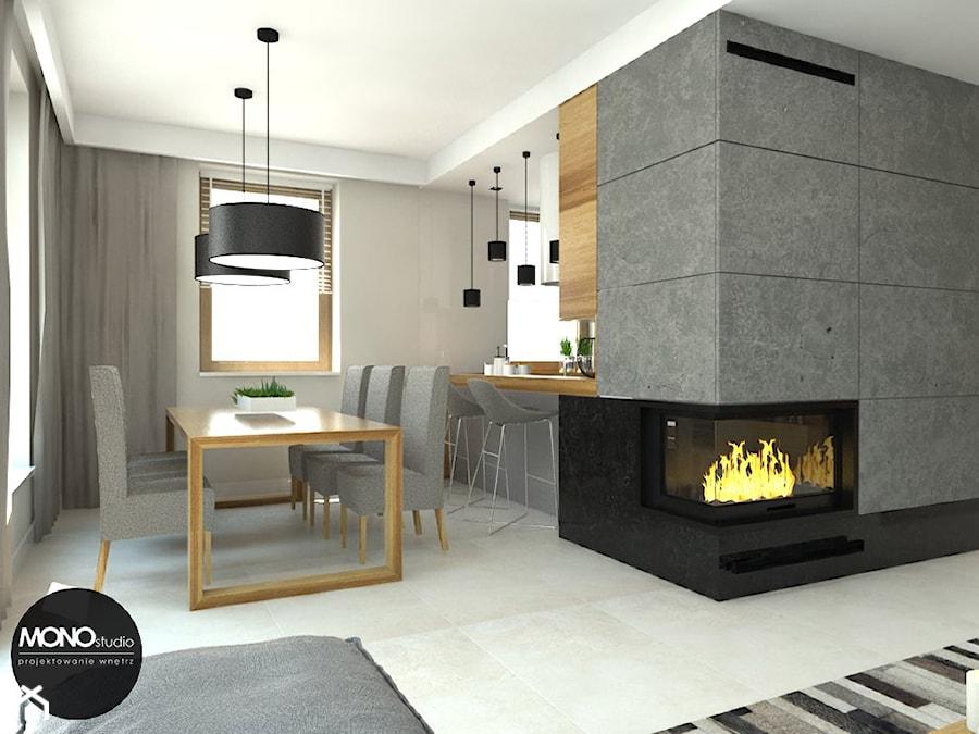 beton & drewno - Mała otwarta szara jadalnia w salonie, styl skandynawski - zdjęcie od MONOstudio